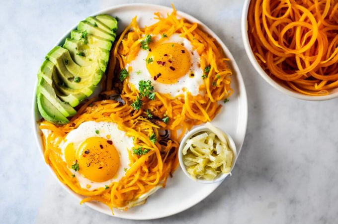 Butternut Squash Noodle Nests and Eggs (gluten free, paleo, and whole30)