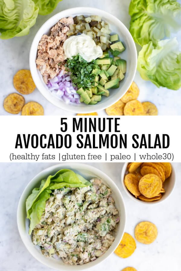 5 Minute Avocado Salmon Salad on white plate with lettuce