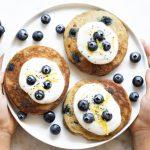 Fluffy Lemon Blueberry Pancakes (gluten free, paleo, and nut free) | www.savorylotus.com