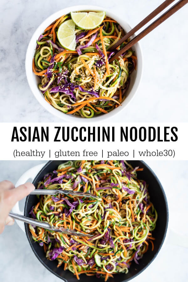 Asian Zucchini Noodles in white bowl with sesame seeds and lime