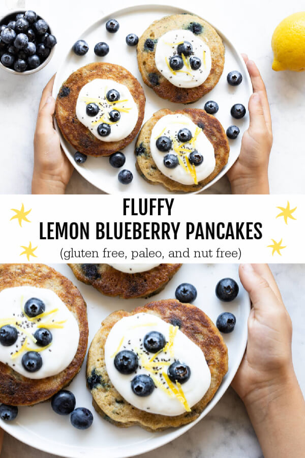 Lemon Blueberry Pancakes on a white plate