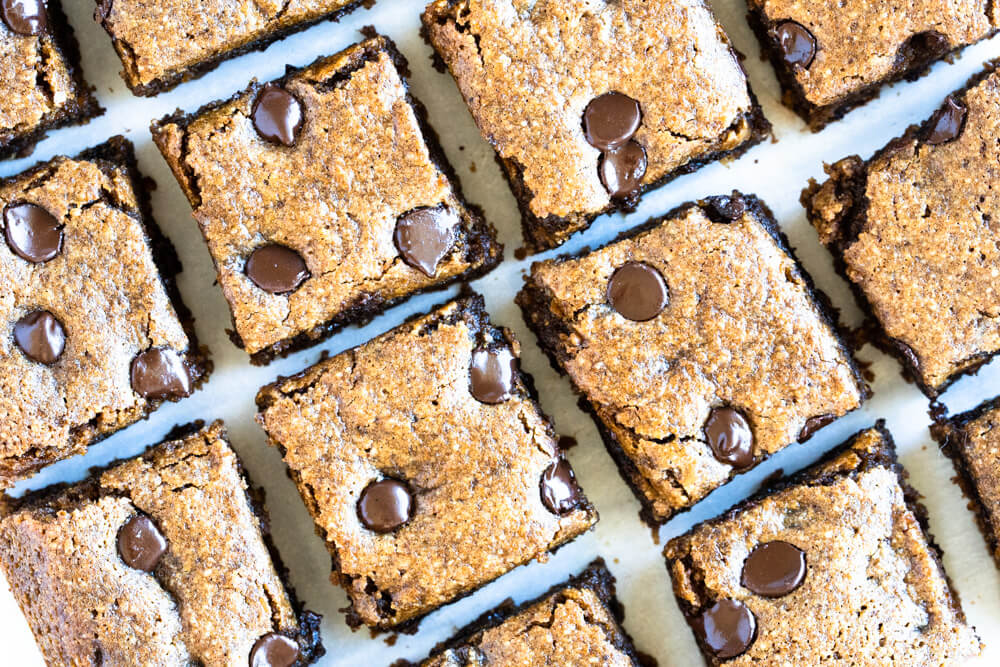 chocolate chip pumpkin bars cut into squares