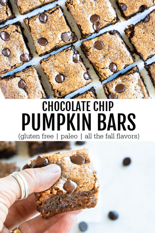 chocolate chip pumpkin bar held in hand