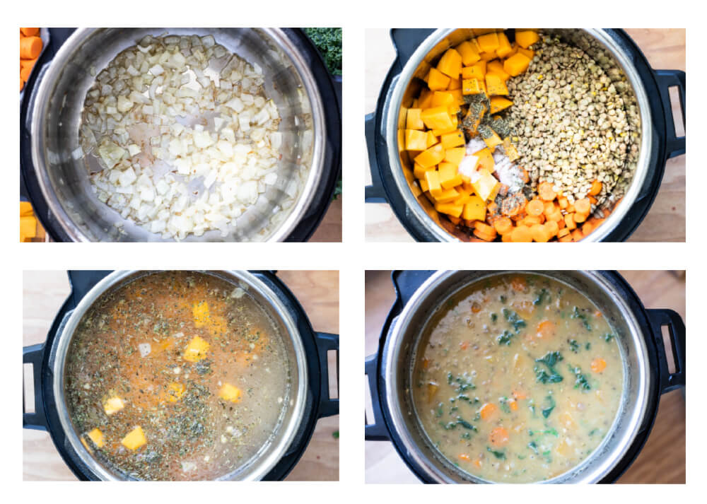 four images on how to make butternut squash lentil soup