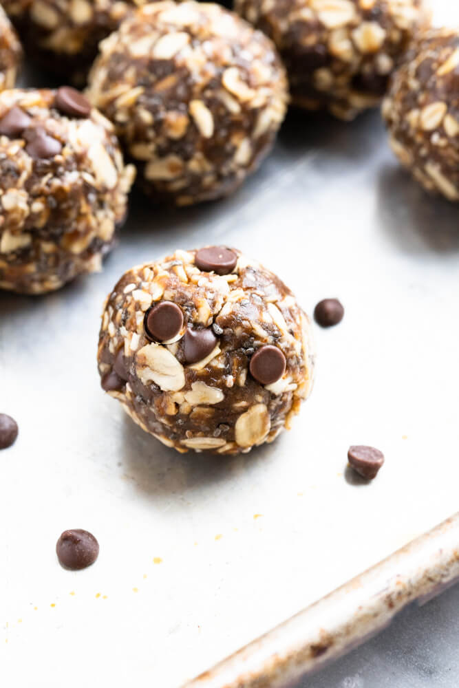 gingerbread energy ball with chocolate chips on outside