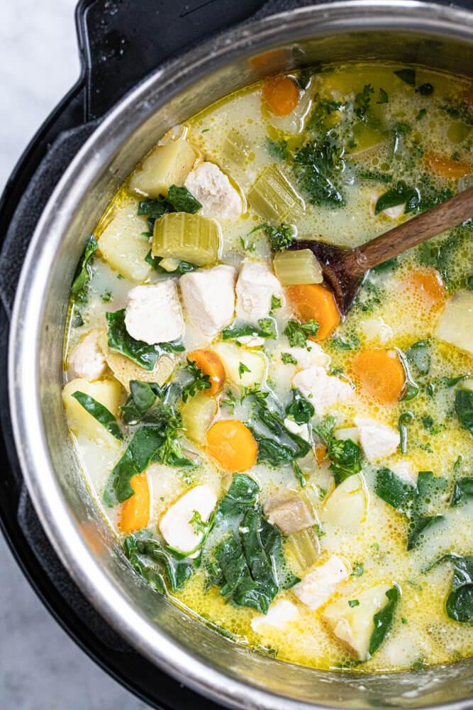 close up of chicken pot pie soup inside an instant pot