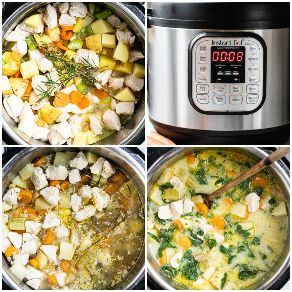 step by step on how to make instant pot chicken pot pie soup