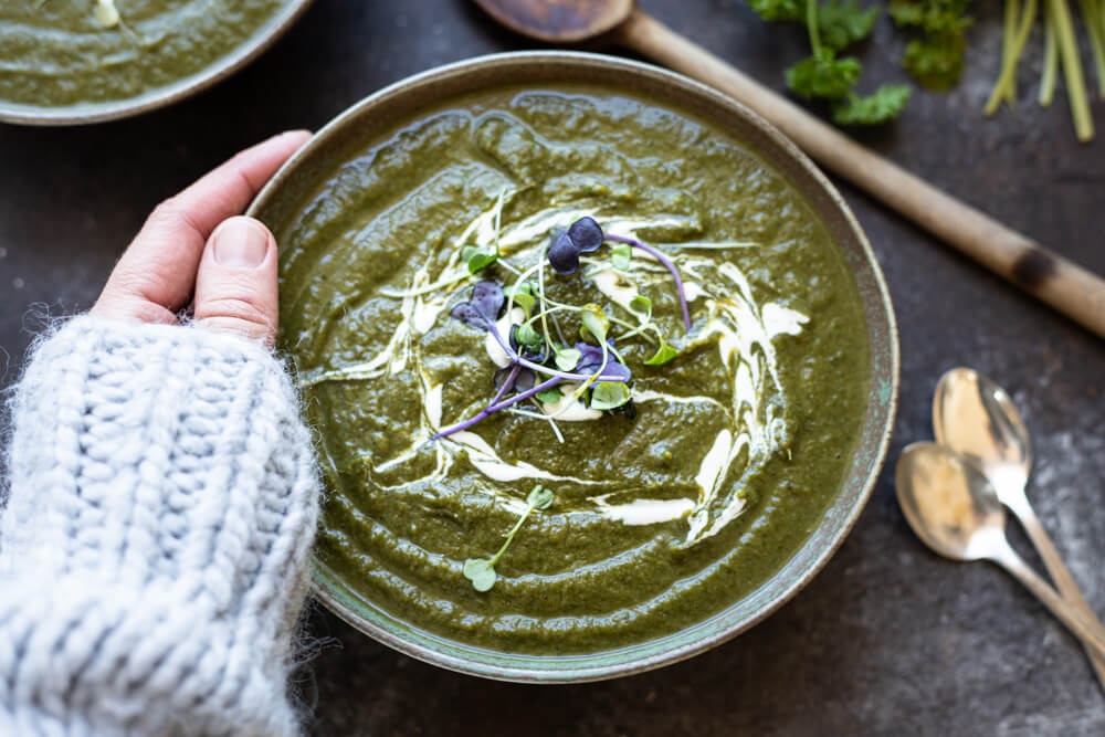 green soup in a green bowl