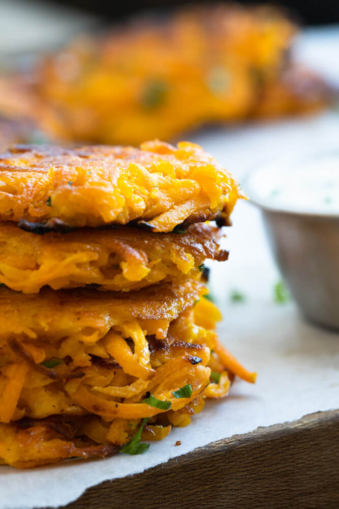 stack of butternut squash fritters
