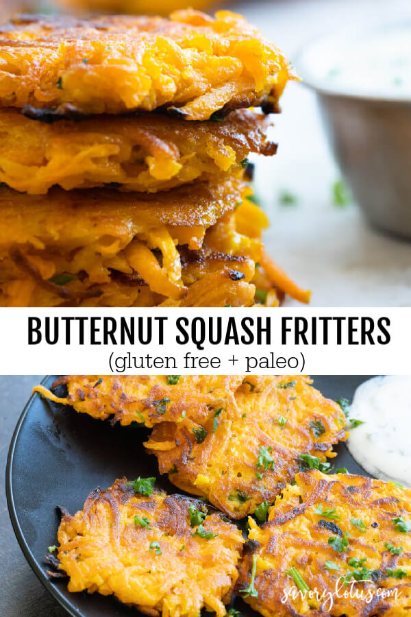 butternut squash fritters on a black plate