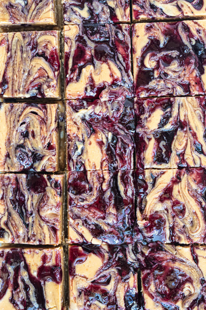 close up of vegan peanut butter and jelly fudge