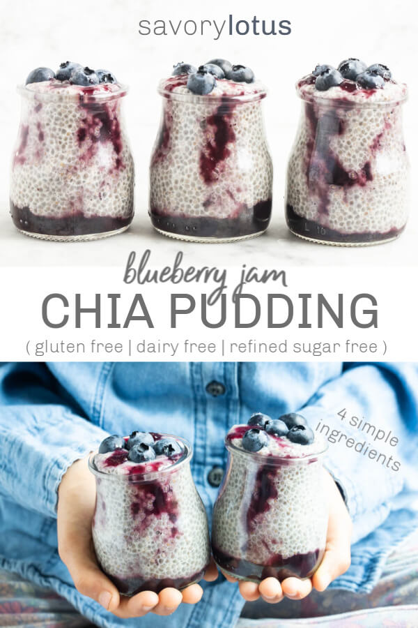 three glass jars of blueberry chia pudding