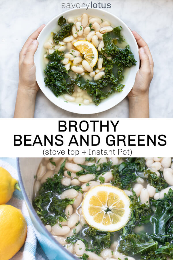 hands holding a bowl of white beans and greens