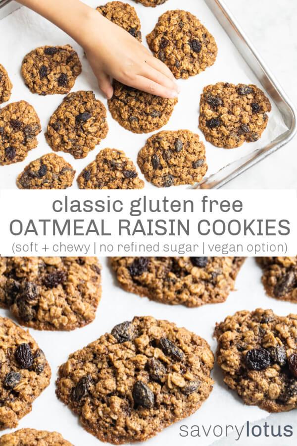 gluten free oatmeal raisin cookies on a silver baking sheet