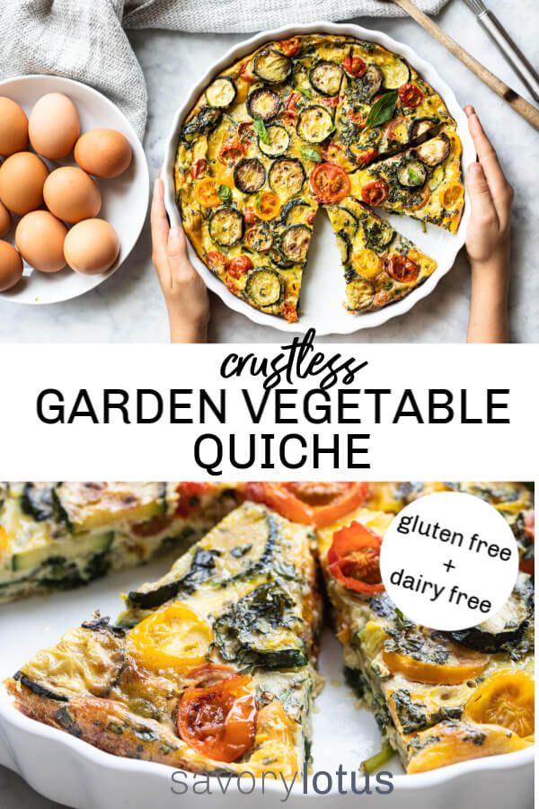 vegetable quiche in white dish on white counter