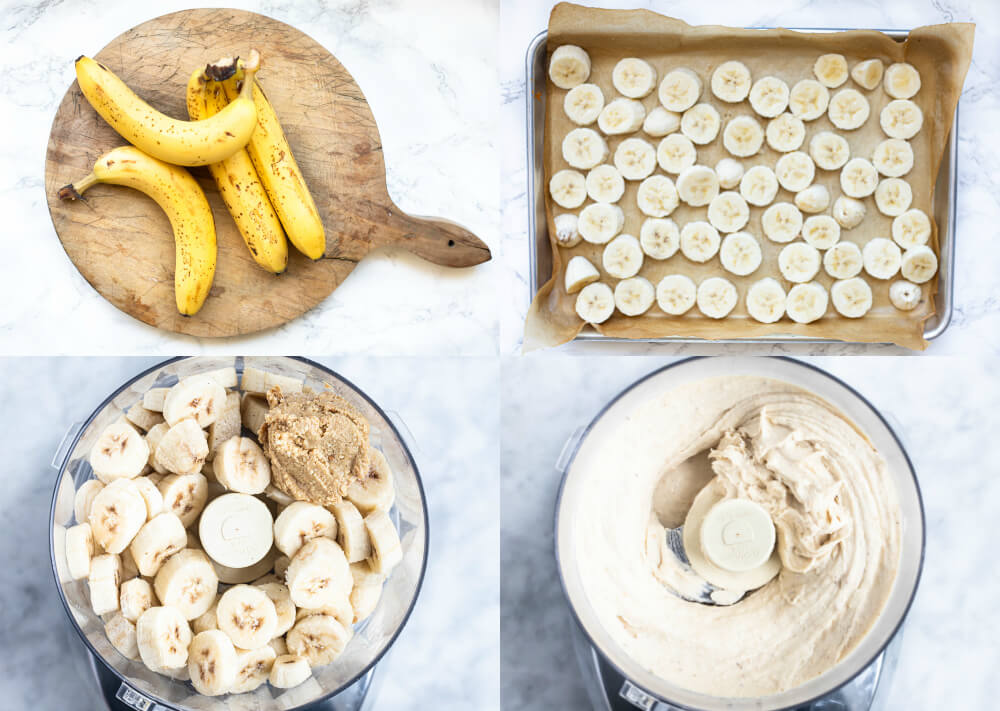 step by step process of making peanut butter banana ice cream