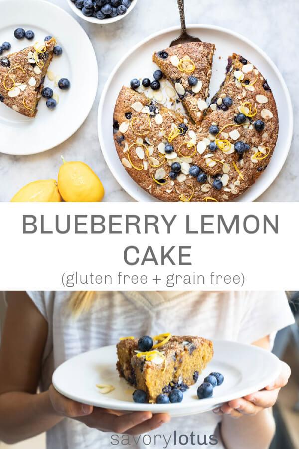 blueberry lemon cake on a white plate