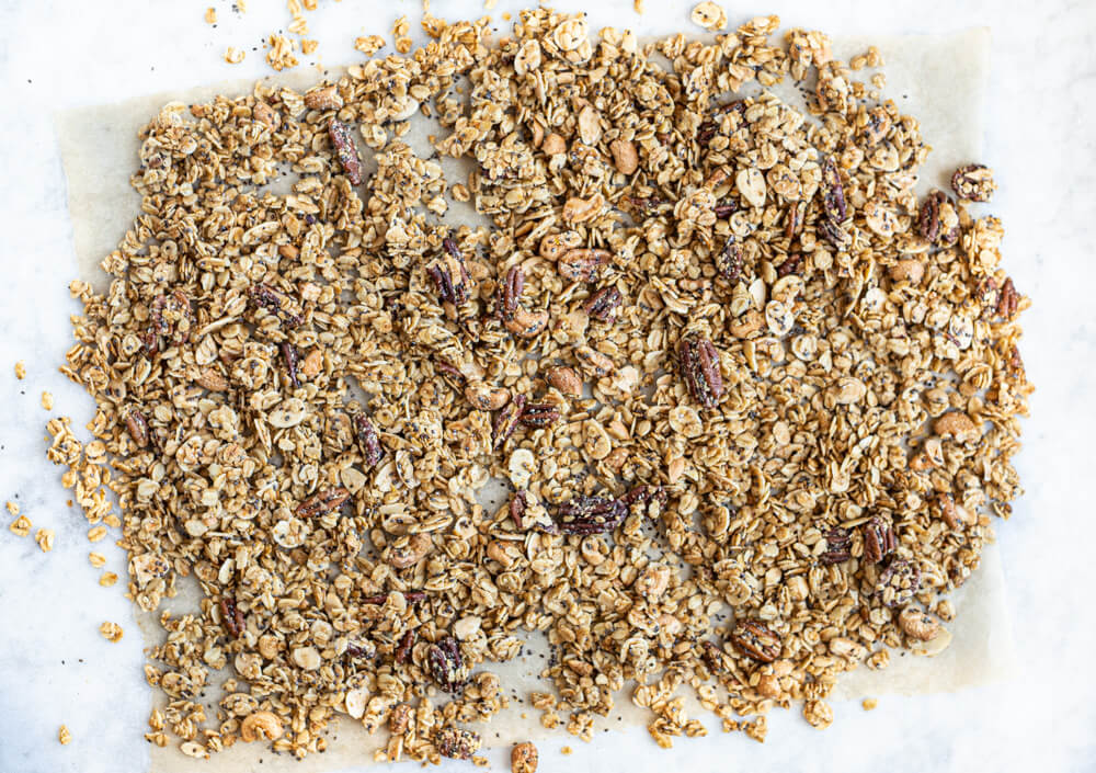 granola on parchment paper
