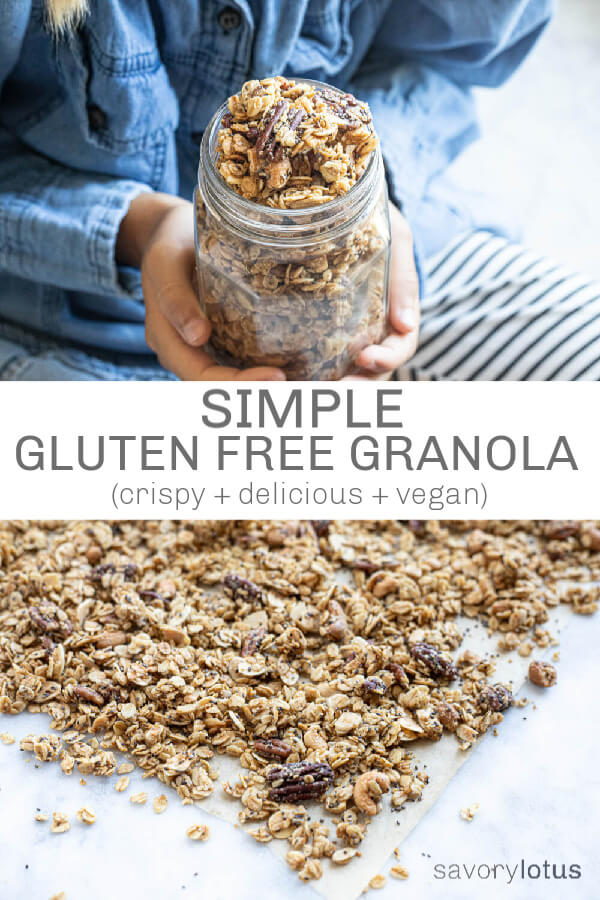 glass jar of gluten free granola