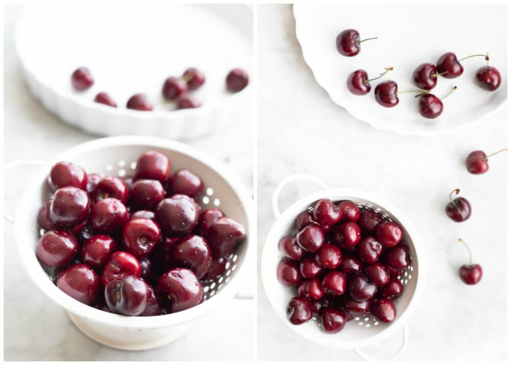 bing cherries in white strainer
