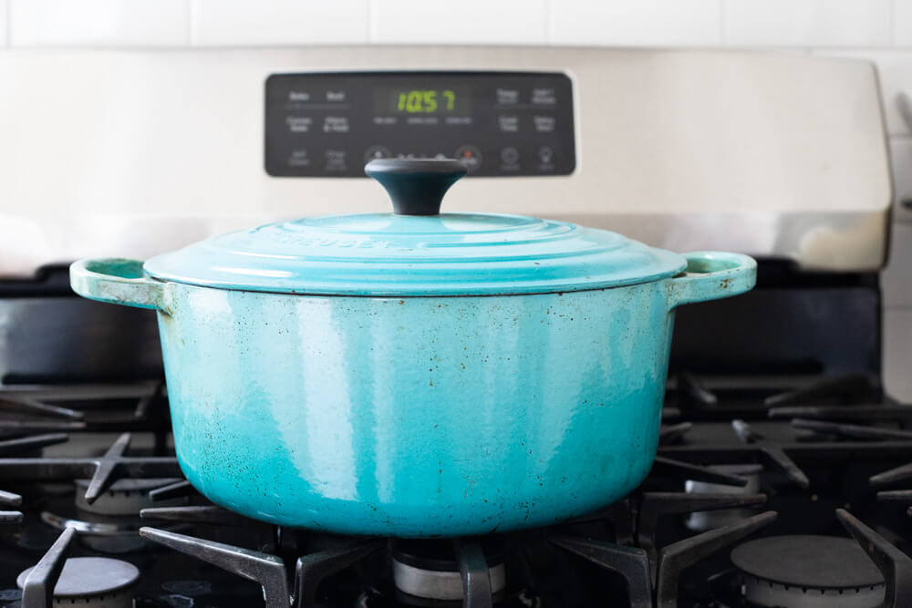 cast iron Dutch oven on the stove