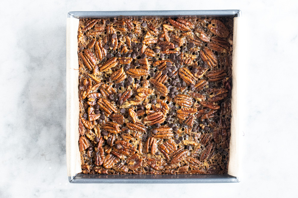 metal tray of pecan pie bars