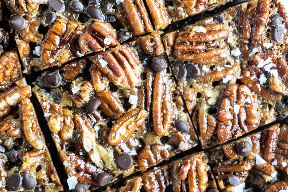 close up of pecan pie bars