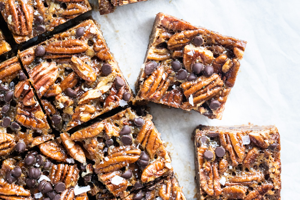 pecan pie bars cut into squares