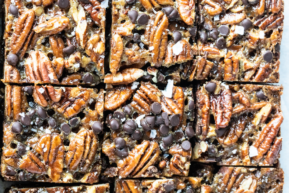 pecan pie bars sliced into squares