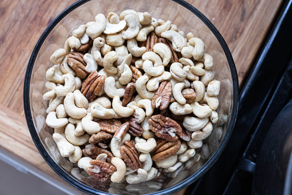 nuts in a glass bowl