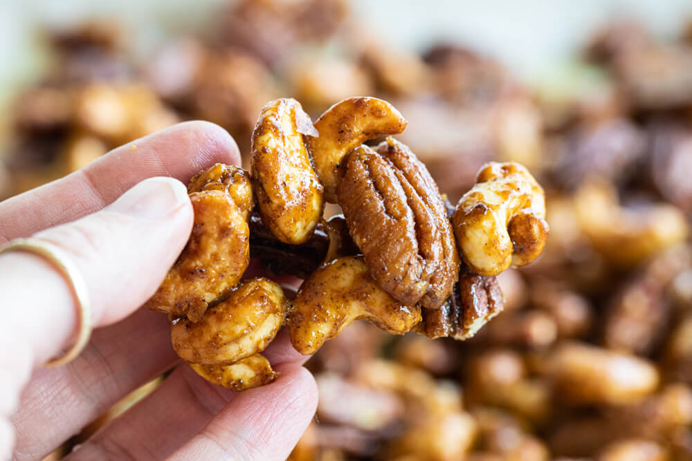 close up of a cluster of spiced nuts