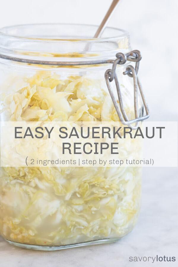 glass jar full of fresh sauerkraut