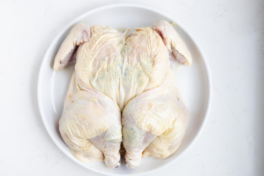 a raw whole chicken