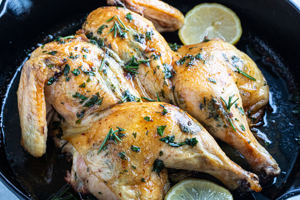 whole chicken in cast iron skillet