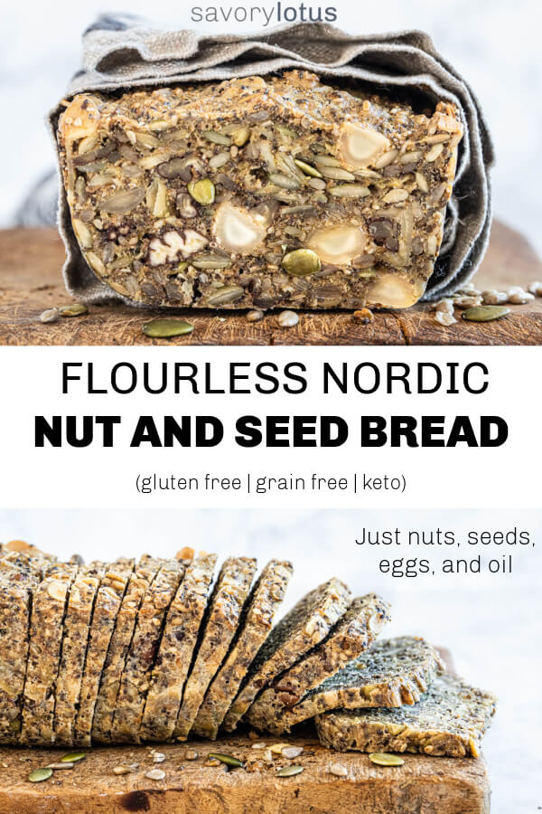 nordic nut and seed bread sliced on a wooden cutting board