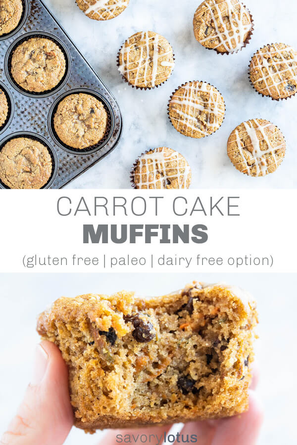 carrot cake muffins with white glaze