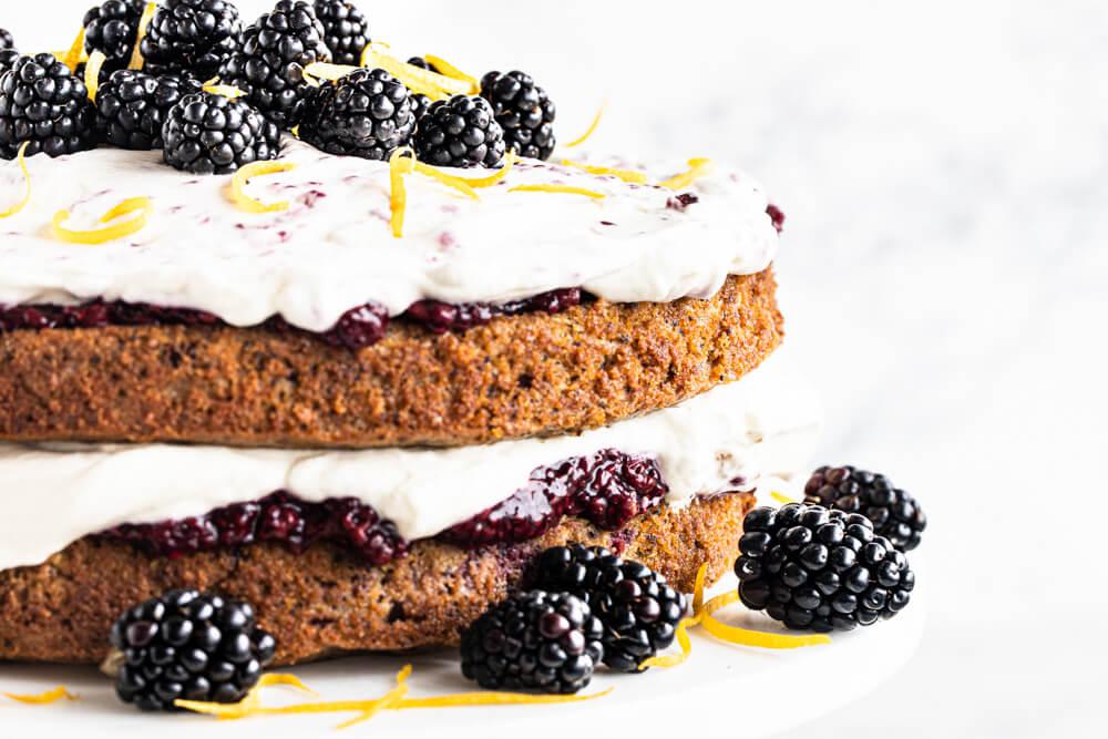 close up of lemon poppy seed cake