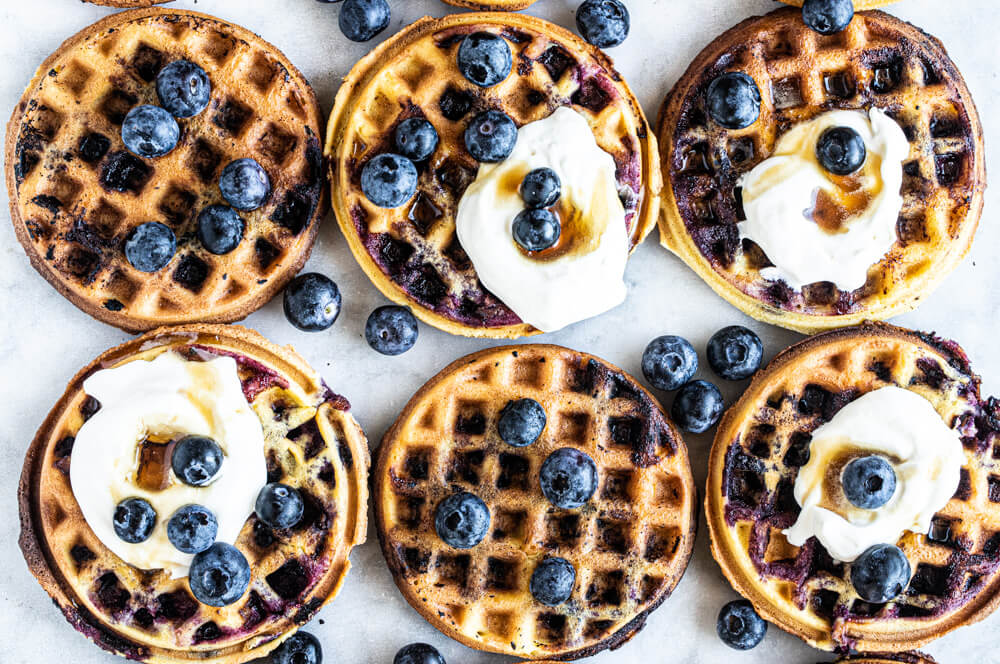 six mini waffles on white counter