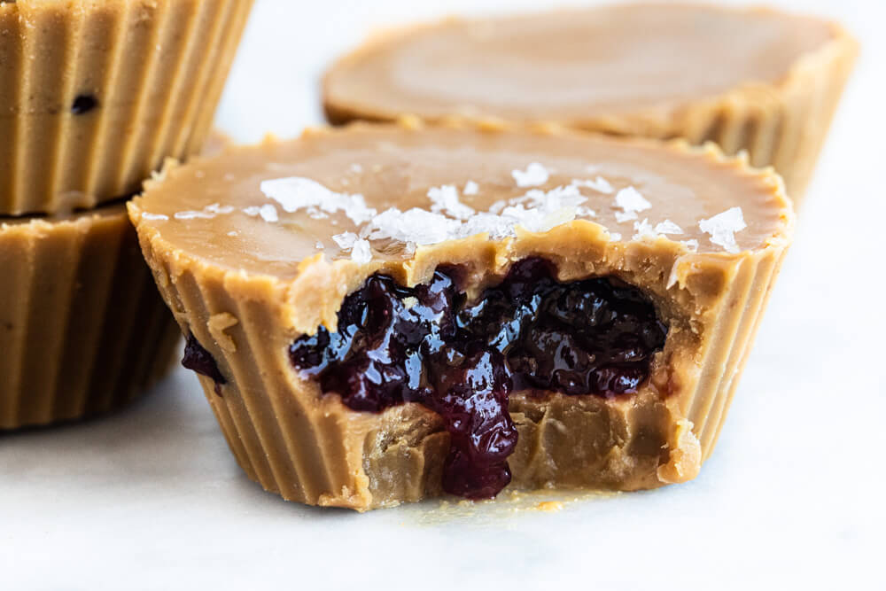 close up of inside of peanut butter and jelly cup