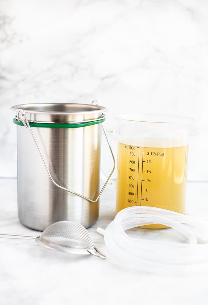 coffee enema buckets on white counter
