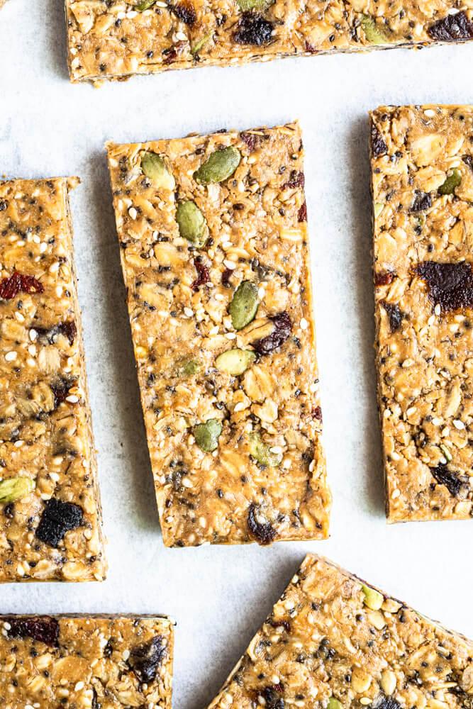 close up of gluten free granola bar