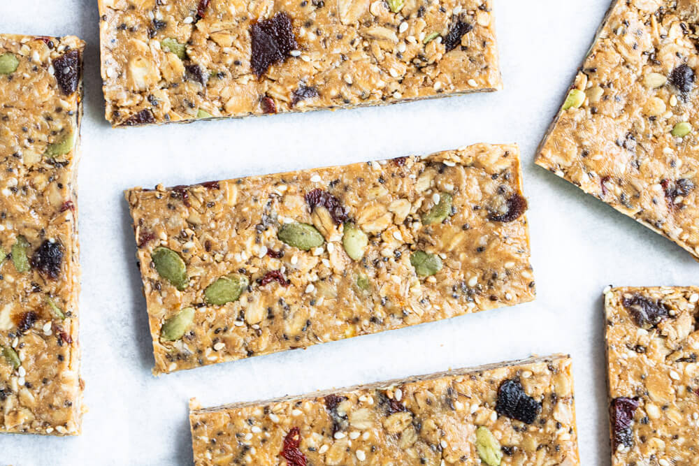 six granola bars on white counter
